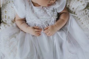 Southern Momdays owner Andrea McKee's baby Scarlett in a stylized portrait by Leah Bullard Photography