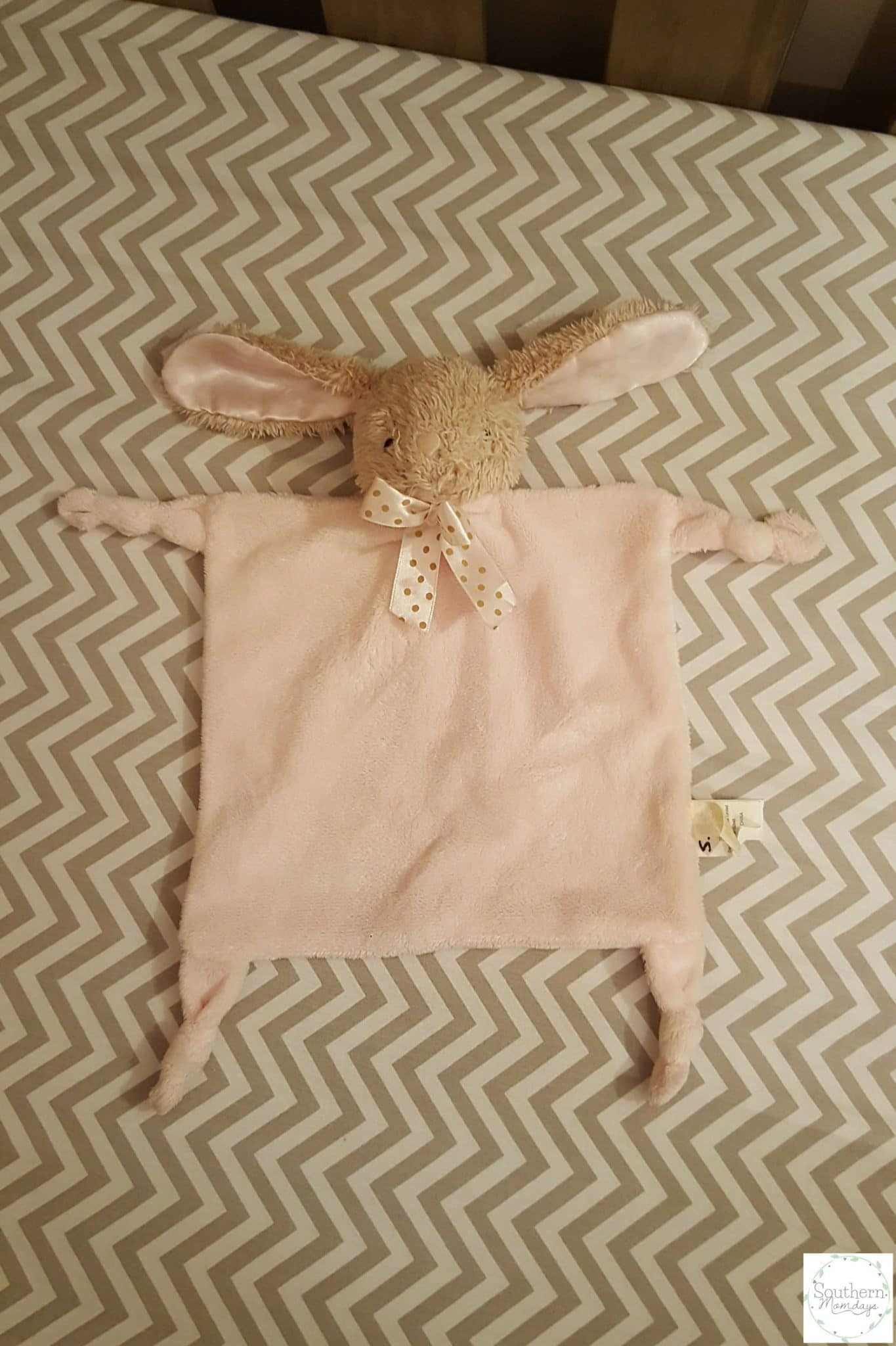 Bunny blanket lovey example used for sleep training, featured on the Southern Momdays blog