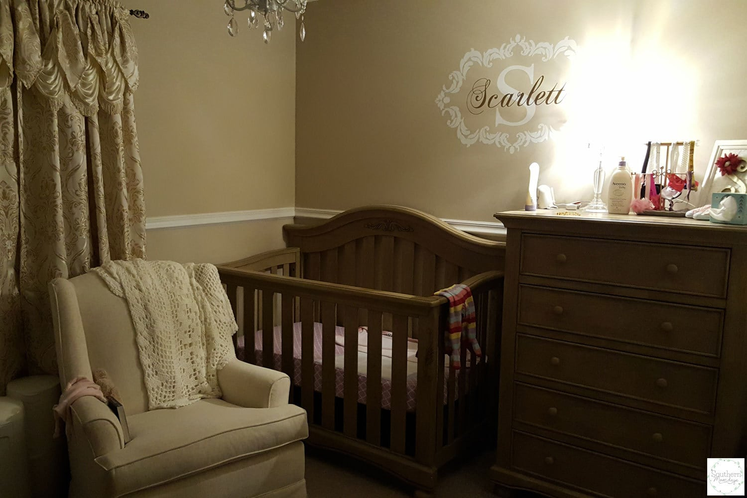 Nursery prepped for nighttime sleep using sleep-training advice, featured on the Southern Momdays blog