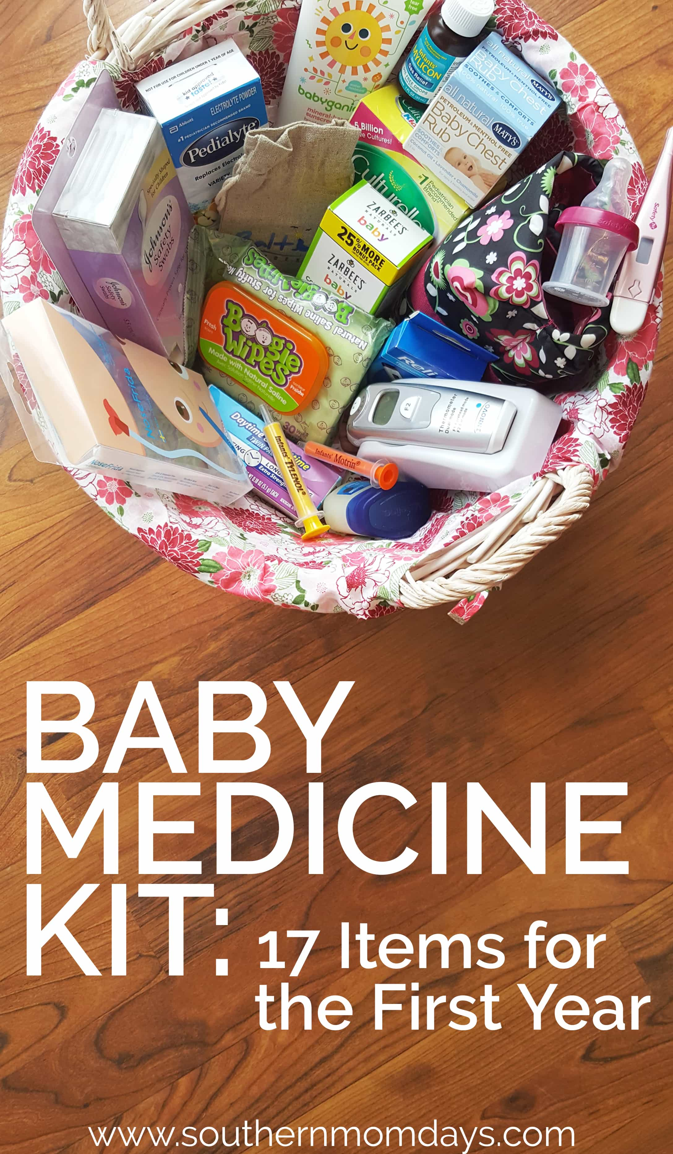 Baby Medicine Kit with 17 Items you need for the first year, featured on Southern Momdays blog