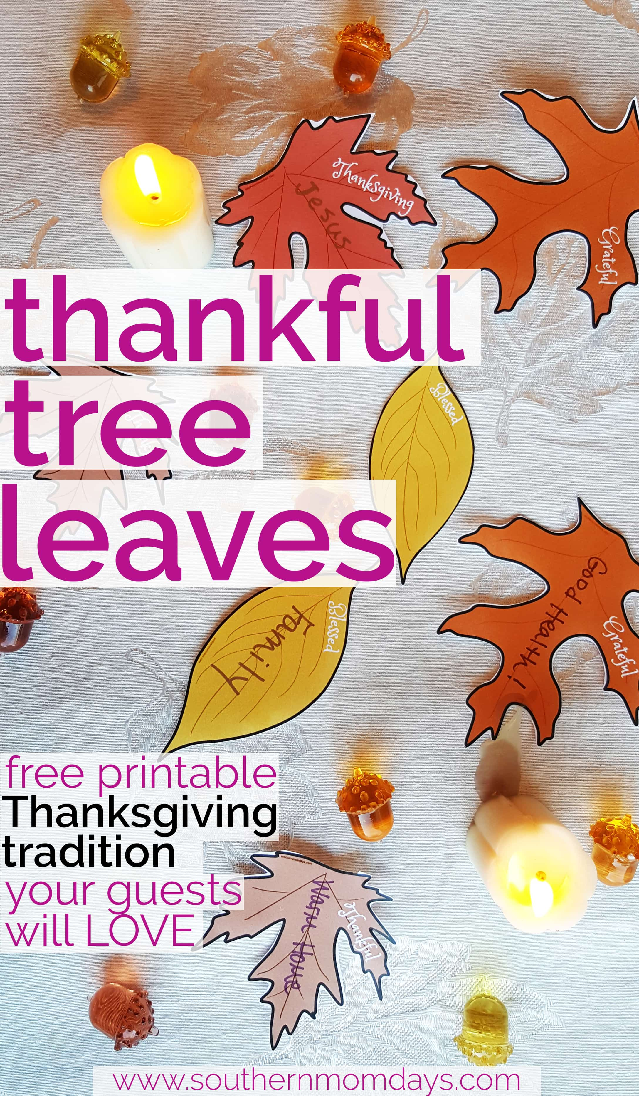 photograph relating to Thankful Leaves Printable named Grateful Tree Leaves for Thanksgiving Desk Décor - Southern