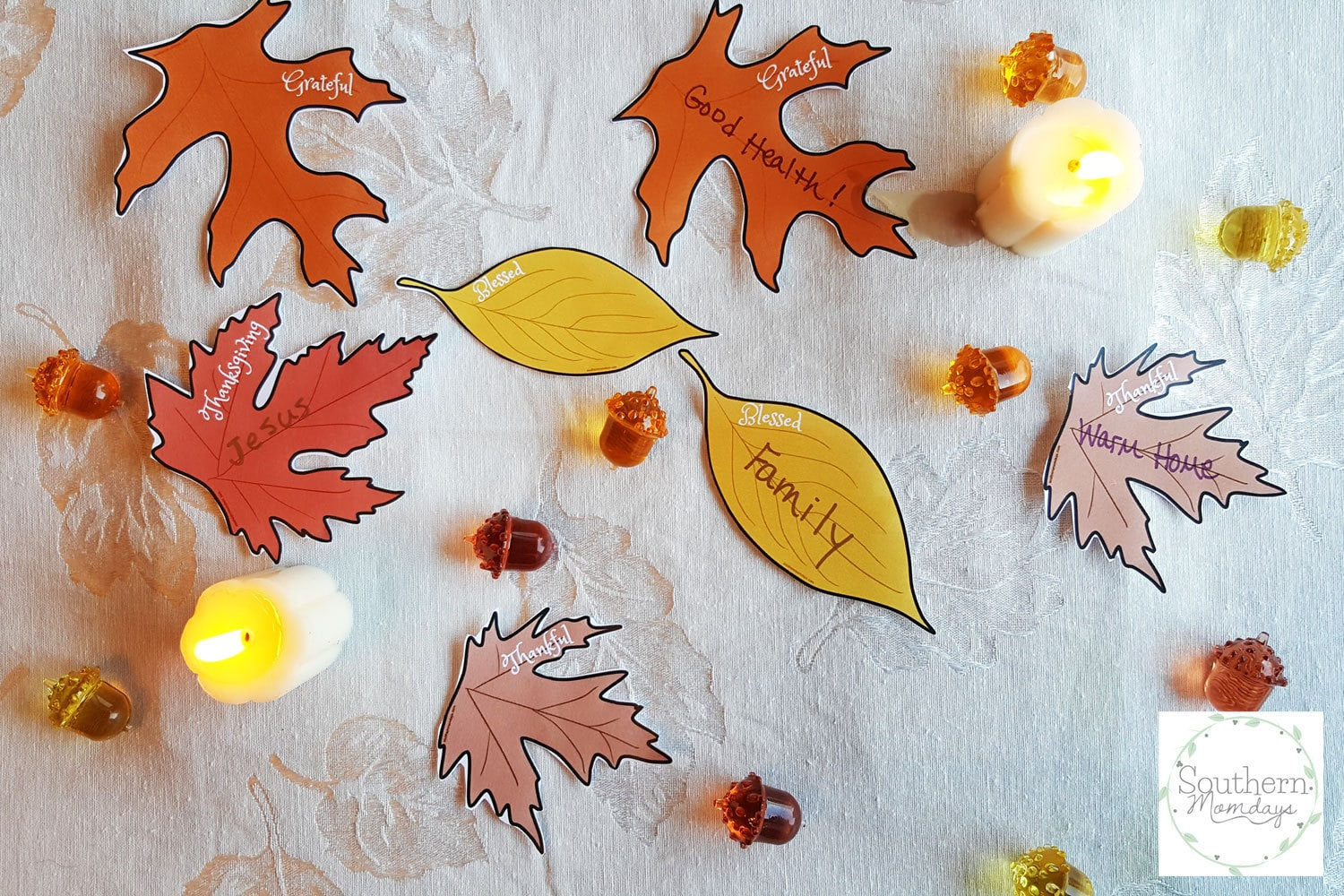 picture regarding Thankful Leaves Printable called Grateful Tree Leaves for Thanksgiving Desk Décor - Southern
