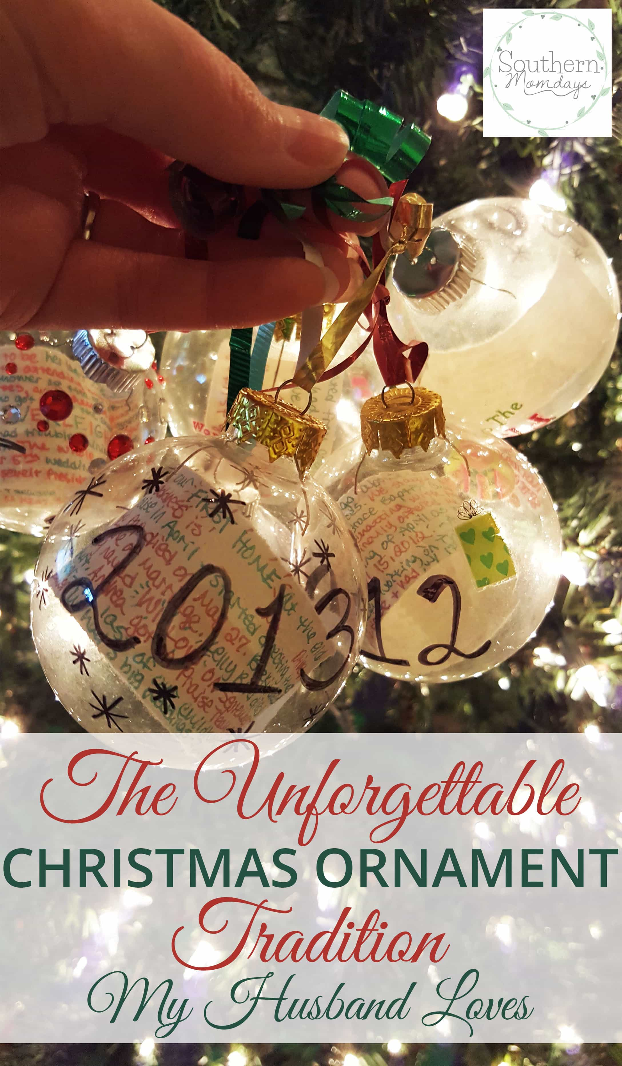 the unforgettable year in review christmas ornament tradition that my husband loves featured