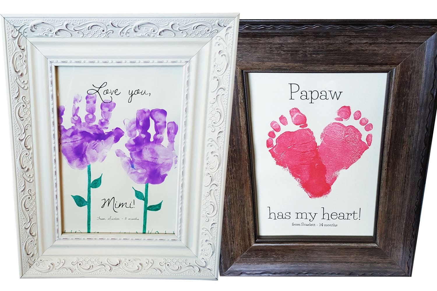 DIY Gift Toddler Craft of Handprint Flowers and Footprint Heart, featured on the Southern Momdays blog