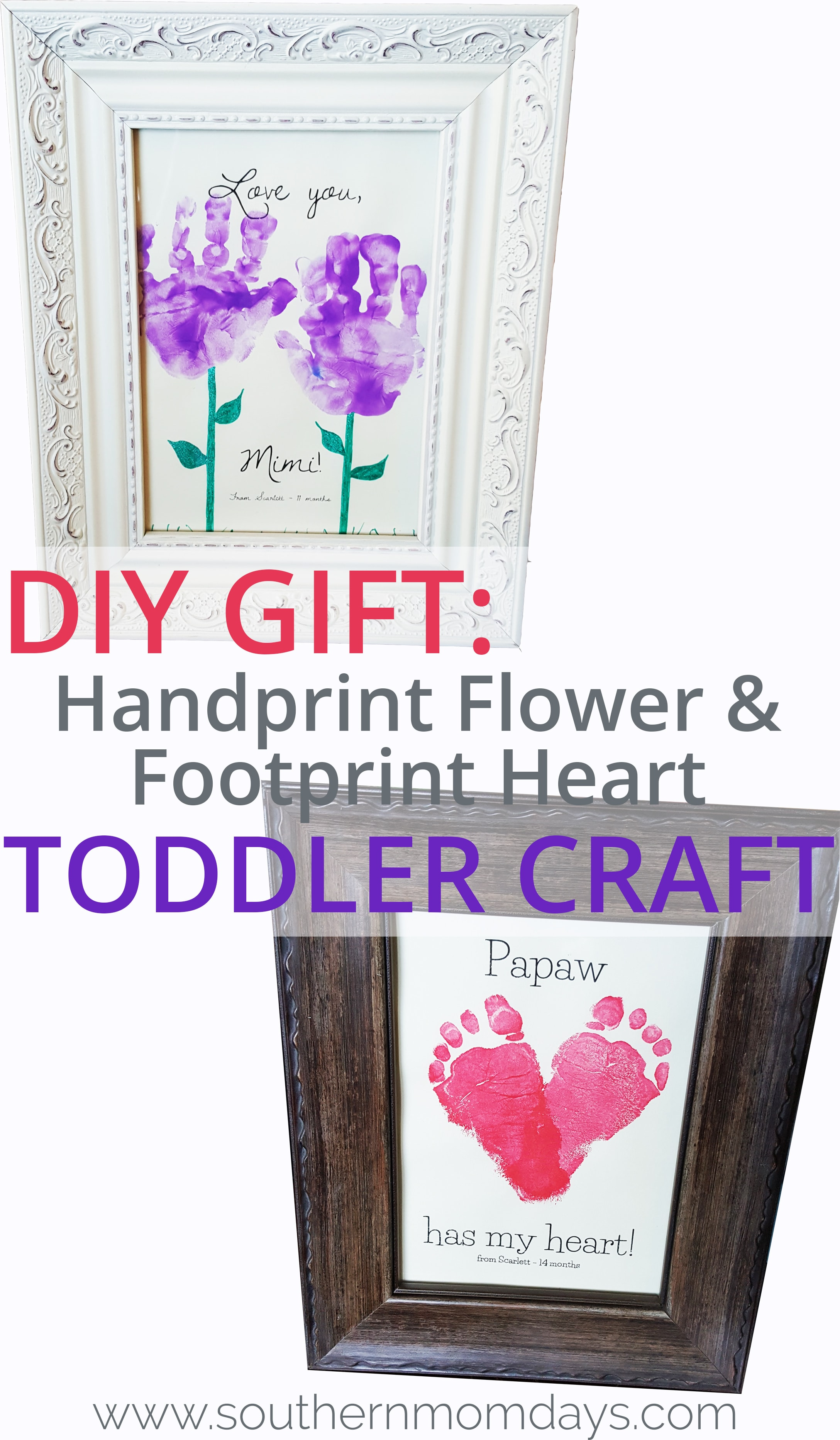 DIY Gift Handprint Flower and Footprint Heart Toddler Craft, featured on the Southern Momdays blog