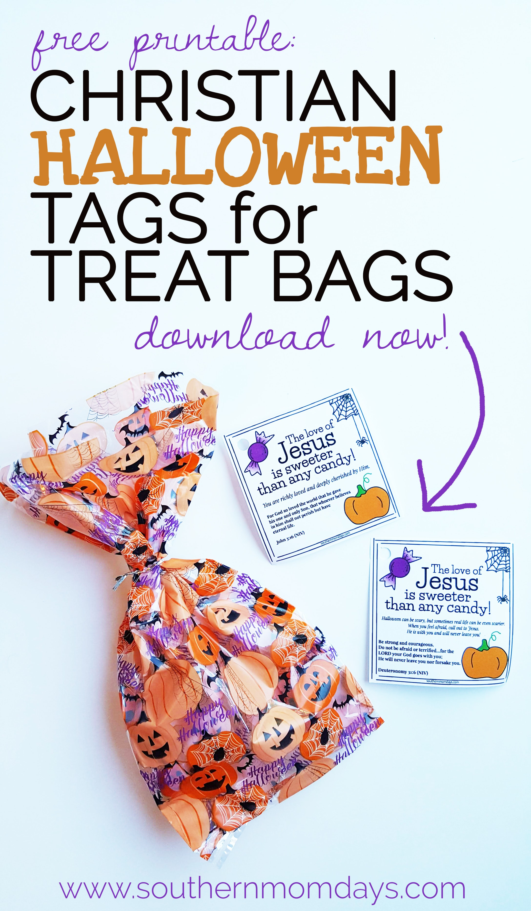 free printable: christian halloween tags for treat bags - southern