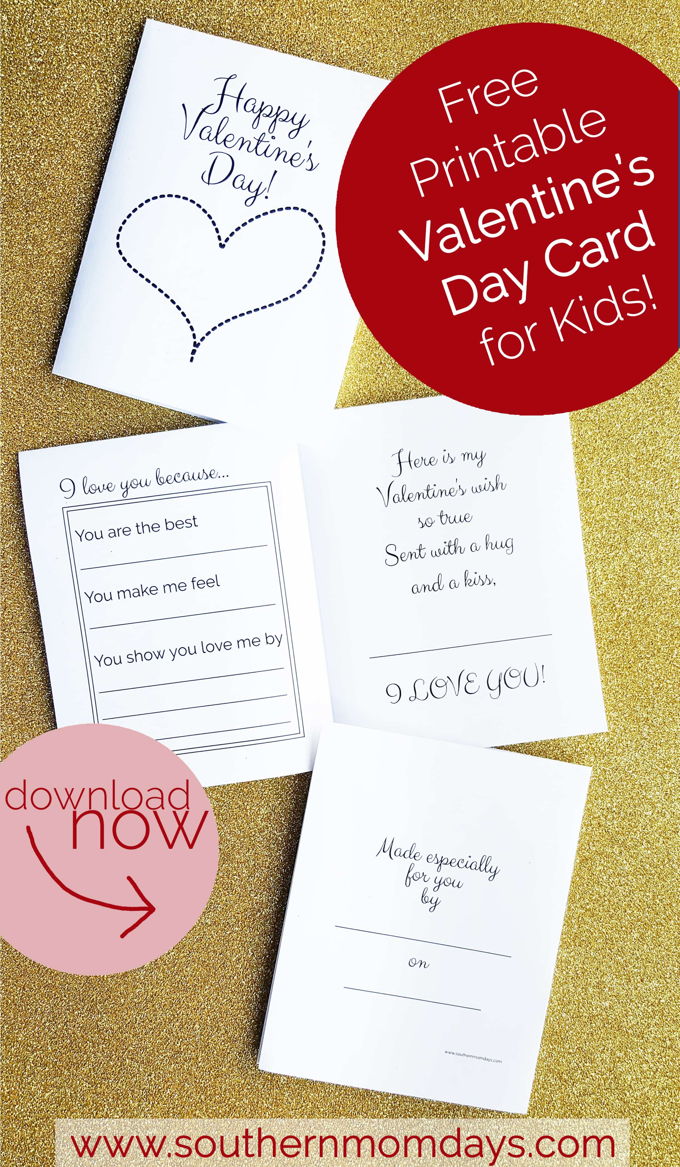 image regarding Printable Valentines Day Cards for Kids identify Totally free Printable: Valentines Working day Card for Young children - Southern Momdays